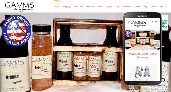 Web Design Example - GAMMS Sauces